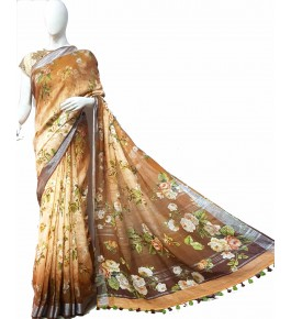 Bhagalpur Handloom Floral Printed Silk Brown Saree By Nafish Ansari