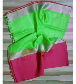 Bhagalpur Handloom Light Green Silk Saree By Nafish Ansari
