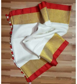 Bhagalpur Handloom White Silk Saree By Nafish Ansari