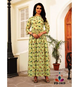 Designer Beautiful Light Green Long Printed Gown For Women & Girls By Nakshatra Fashion Studio