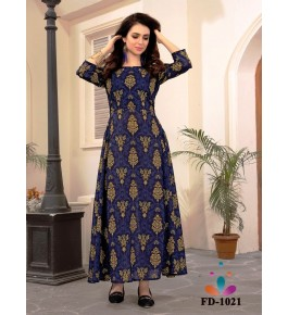 Designer Beautiful Blue Long Printed Gown For Women & Girls By Nakshatra Fashion Studio