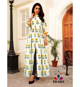 Designer Beautiful White Long Printed Gown For Women & Girls By Nakshatra Fashion Studio
