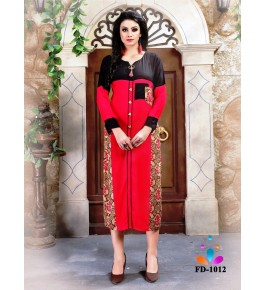 Designer Beautiful Red Printed Kurti For Women & Girls By Nakshatra Fashion Studio