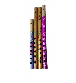 Natural Bamboo Flute/Bansuri (Set Of 4) By Nabi & Sons
