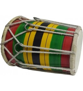 Handmade Rope & Ring Multi-color Mini Dholak (8 inches) By Ram Raheem Handicrafts