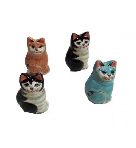 Kashmir Paper Mache Cat Shaped Box (Set Of 4) By Nazir Ahmed