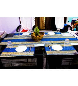 Madurkathi Natural Fibre Table Runner with Placemats Set