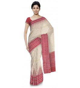Delightful Off-White with Red Shades Cotton Sambalpuri Bandha Saree for Women