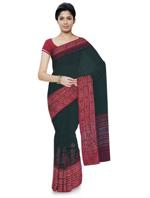Attractive Green Sambalpuri Bandha Saree With Red Border For Women