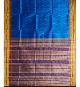 Bright Blue Khandua Silk Saree with Violet Border for Women