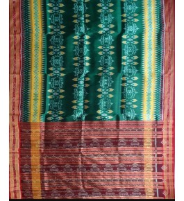 Traditional Khandua Green Silk Saree with Maroon Border for Women