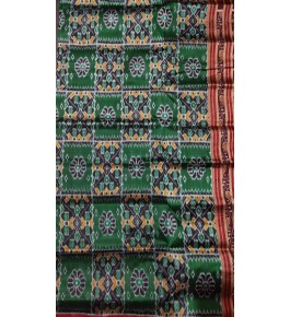 Traditional Khandua Block Pattern Green Silk Saree with Red Border for Women