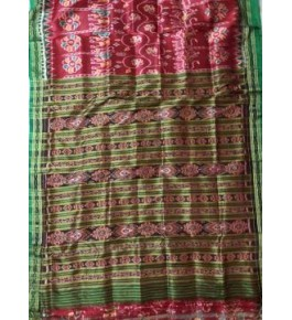 Traditional Khandua Red Silk Saree with Green Border for Women