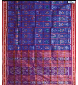 Beautiful Block Pattern Khandua Violet Silk Saree with Tribal Design for Women