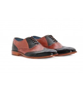 E.I. Leather Lace-up Formal Black & Red Shoes For Men