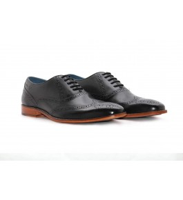 E.I. Leather Lace-up Formal Black Shoes For Men