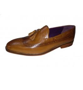 East India Leather Formal Slip-on Brown Shoes For Men