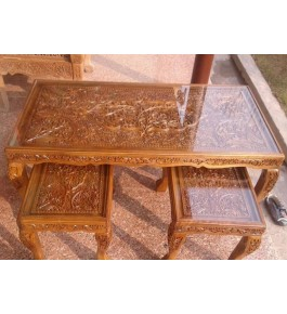 Traditional Walnut Wood Carving Table Set of Jammu & Kashmir by Pandit Brothers