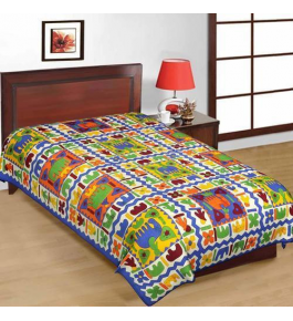 Solapur Chaddar Beautiful Cotton Multicolor Single Bedsheet