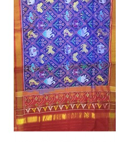 Rajkot Patola 100% Pure Silk Traditional Red & Blue Saree For Women