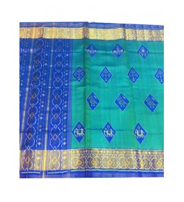 Rajkot Patola 100% Pure Silk Traditional Green and Blue Colour Saree For Women