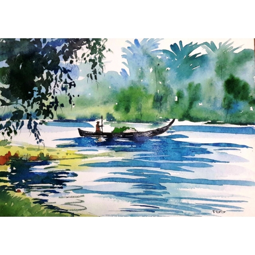 Handmade Painting Of Flowing River With Boat