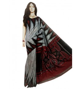 Traditional Pochampally Ikat Handloom Beautiful Grey & Red Cotton Saree for Women