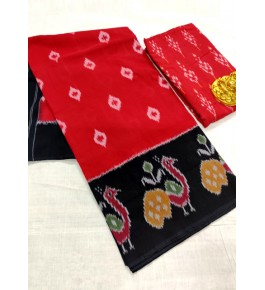 Traditional Pochampally Ikat Handmade Cotton Saree in Red & Black Color for Women