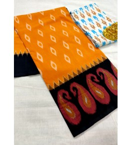 Traditional Pochampally Ikat Handloom Cotton Printed Saree in Yellow & Black Color for Women