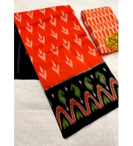 Traditional Pochampally Ikat Handloom Cotton Printed Saree in Orange & Black Color for Women