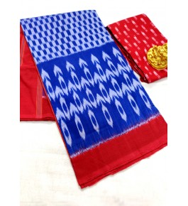 Traditional Pochampally Ikat Handloom Beautiful Cotton Blue & Red Printed Saree for Women
