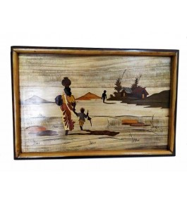 Mysore Rosewood Inlay Handmade Of  A Village Women With Her Child (Pack Of 1) By Sri Krishna Murthy Fine Arts