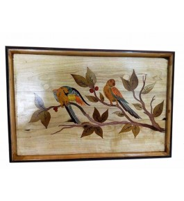 Mysore Rosewood Inlay Handmade Of  Two Parrots Sitting On A Tree Branch (Pack Of 1) By Sri Krishna Murthy Fine Arts