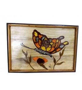 Mysore Rosewood Inlay Handmade Of  A Butterfly Sitting On A Flower (Pack Of 1) By Sri Krishna Murthy Fine Arts