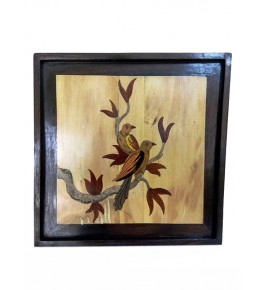 Mysore Rosewood Inlay Handmade Of  Two Sparrows Sitting On A Tree Branch (Pack Of 1) By Sri Krishna Murthy Fine Arts