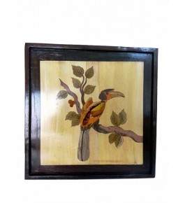 Mysore Rosewood Inlay Handmade Of  A Bird Sitting On A Tree Branch (Pack Of 1) By Sri Krishna Murthy Fine Arts