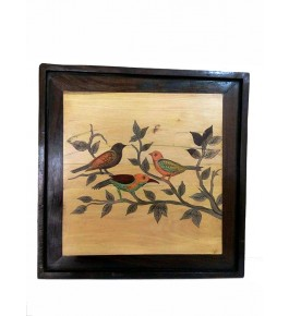 Mysore Rosewood Inlay Handmade Of  Three Birds Sitting On A Tree Branch (Pack Of 1) By Sri Krishna Murthy Fine Arts