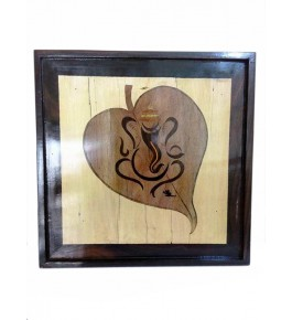 Mysore Rosewood Inlay Handmade Of  Lord Ganesha On A Leaf (Pack Of 1) By Sri Krishna Murthy Fine Arts