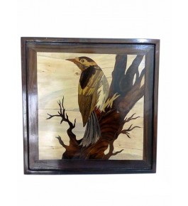 Mysore Rosewood Inlay Handmade Of A Bird Sitting On A Tree (Pack Of 1) By Sri Krishna Murthy Fine Arts