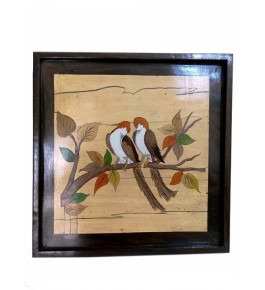 Mysore Rosewood Inlay Handmade Of Two Birds Sitting On A Tree Branch (Pack Of 1) By Sri Krishna Murthy Fine Arts