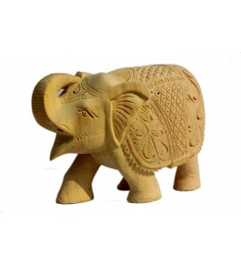 Handcarved Wooden Elephant Showpiece By P.S. Handicraft