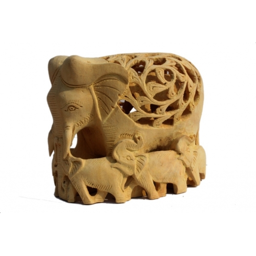 Handcarved Wooden Jali Work Elephant With Baby Elephant Inside Showpiece By P.S. Handicraft