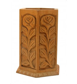Handcarved Wooden Floral Design Pen Stand By P.S. Handicraft