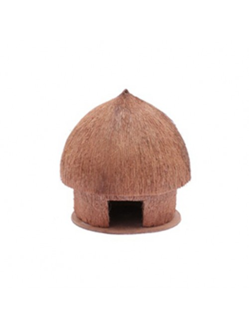 Handcrafted Coconut Husk Hut With Shell Showpiece By Rahul Handicrafts