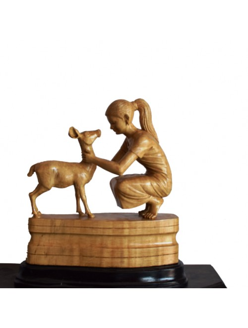 Handcrafted White Wooden Girl & Deer Showpiece By Rahul Handicrafts