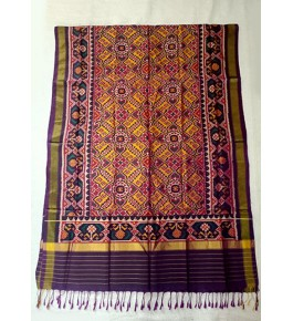 Traditional Patan Patola Single Ikkat Handloom Pure Purple & Yellow Colour Silk Dupatta For Women