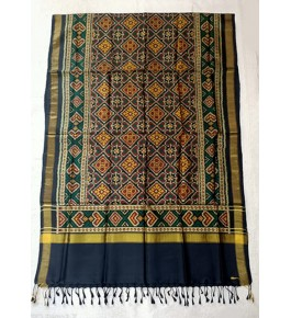 Traditional Patan Patola Single Ikkat Handloom Pure Dark Blue & Yellow Colour Silk Dupatta For Women