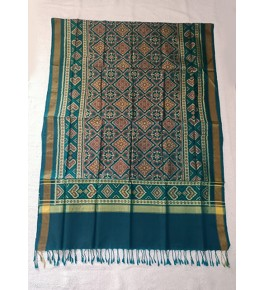 Traditional Patan Patola Single Ikkat Handloom Sea Green Colour Silk Dupatta For Women