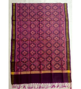 Traditional Patan Patola Single Ikkat Handloom Purple & Red Colour Silk Dupatta For Women
