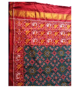 Traditional Patan Patola Double Ikkat Handloom Red & Green Silk Saree For Women By Shree Nageshvari Patola Art
